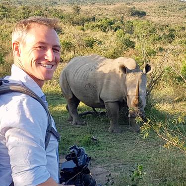 James Glancy Walking with Rhinos