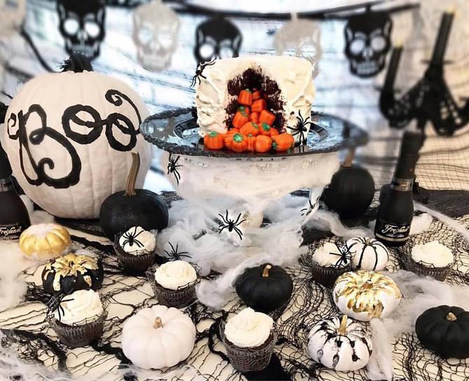 Halloween Candy-Filled Spiderweb Cake