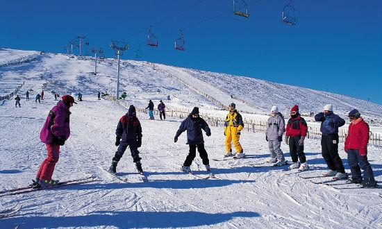 Beginners ski lesson at the Lecht