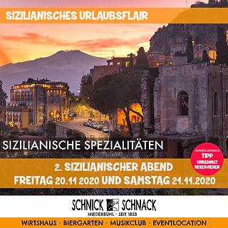 """Sizilianisches Urlaubsflair im Schnick-Schnack Lust auf Sommer, Sonne, """"Bella Sizilia"""" Dann seid ihr bei uns am Freitag den 20.11. und Samstag den 21.11.2020 genau richtig. Freuen sie sich auf eine kulinarische Reise nach Sizilien. Bitte reservieren Sie!!!"""