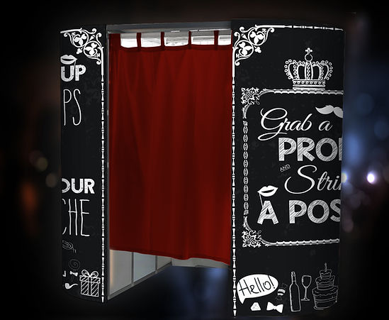 Enclosed booth Chalk Board red curtain 1