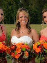 bride and bridesmaids at Brookdale Farms