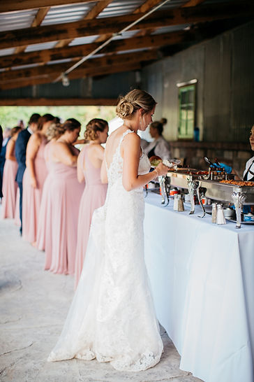 Wedding Buffet line at Brookdale Farms