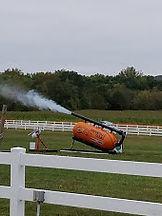 pumpkin slingshot launching a pumpkin