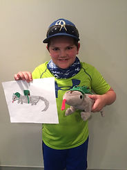 "Custom WitesiePal: Writesie can transform your pictures into a 16"" or 30"" custom stuffed animal, pet or selfie that looks just like your drawing, illustration or picture.  This WritesiePal was called a Commando Lizard and created from the hand drawn image shown."