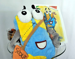 "Meet Scout, the world's most famous map, traveler and WritesiePal who introduces children to fantastic places all over the world.  Scout makes traveling and learning about the world an adventure. This 16"" custom stuffed WritesiePal figure of Scout was created from his 2D drawing shown just to the right.  Children of all ages love WritesieBooks and WritesiePals."