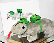"""Custom WitesiePal (commando lizard): Writesie can transform your pictures into a 16"""" or 30"""" custom stuffed animal, pet or selfie that looks just like your drawing, illustration or picture.  This WritesiePal was called a Commando Lizard and created from the hand drawn image shown."""