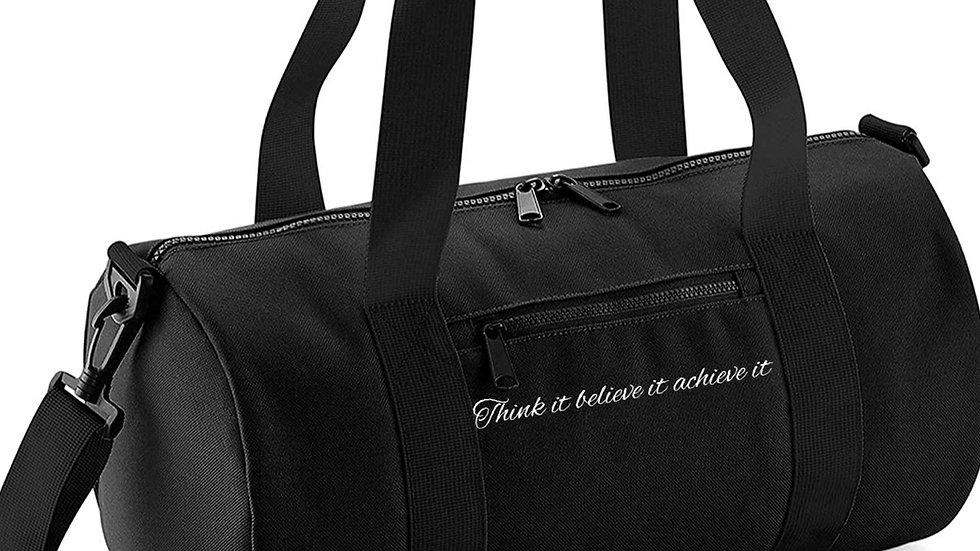 Black Think kit believe it achieve it Barrel bag