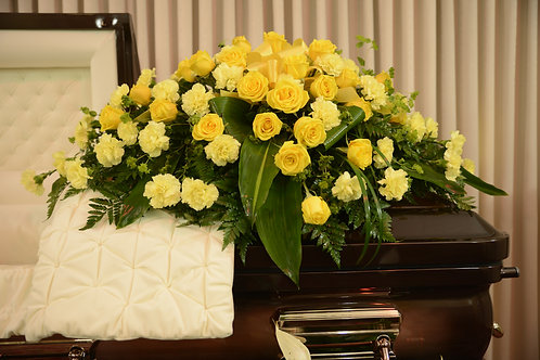 Sunny Memories Rose and Carnation Casket Tribute