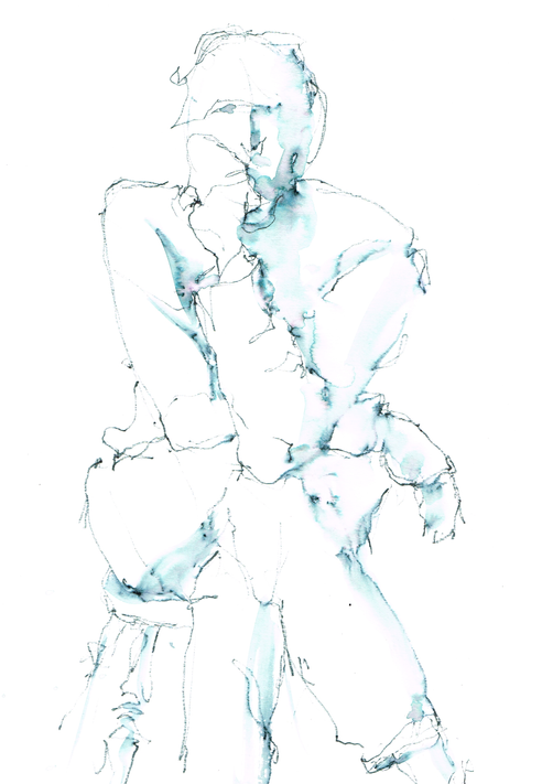 'Thinking' - (L) Hand Drawing