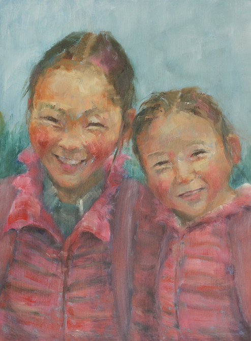 'Sisters. Proud in pink. Mongolia