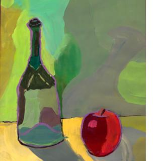 Bottle and Apple Still-life