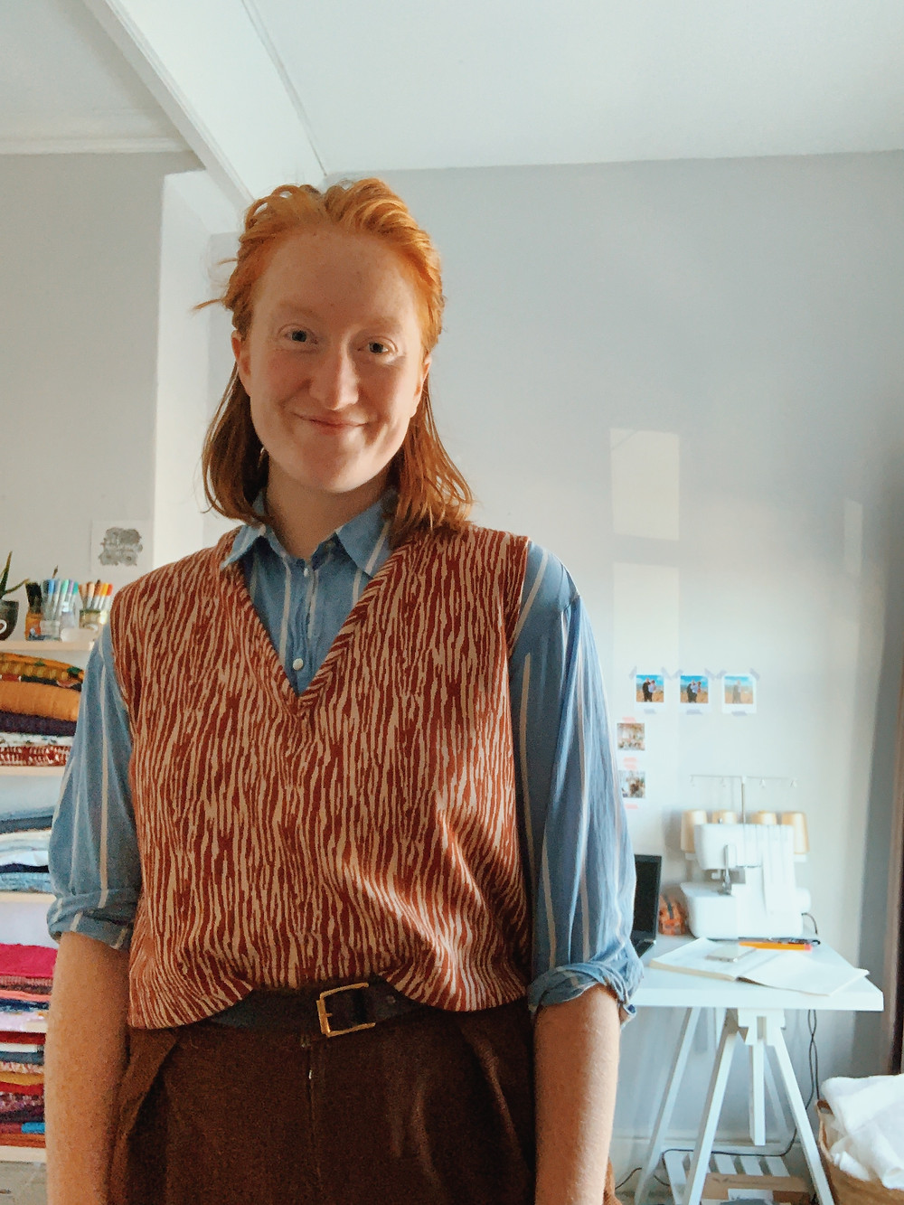 [Picture 1 - Roisin wears a self-drafted Grandad Vest, blue shirt and brown cord Terra Trousers]