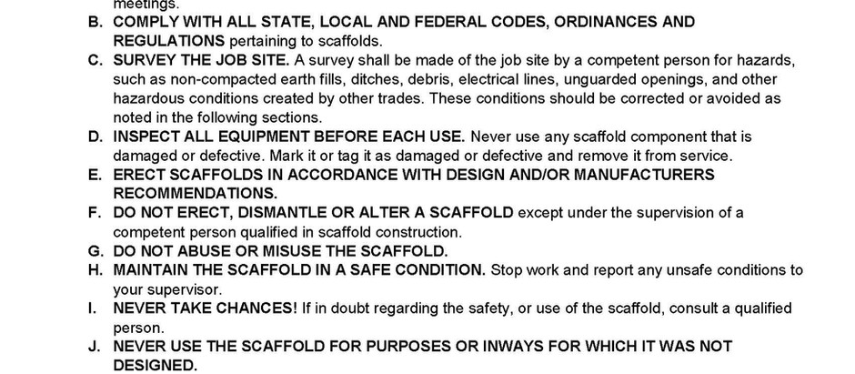 SAIA Codes of Safe Practices for Frame, Systems, Tube & Clamp, and Rolling Scaffolds
