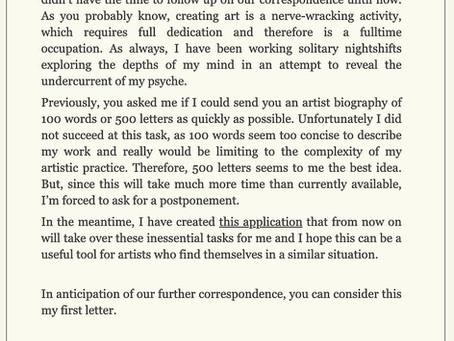 500 Letters - Artist Statement Generator