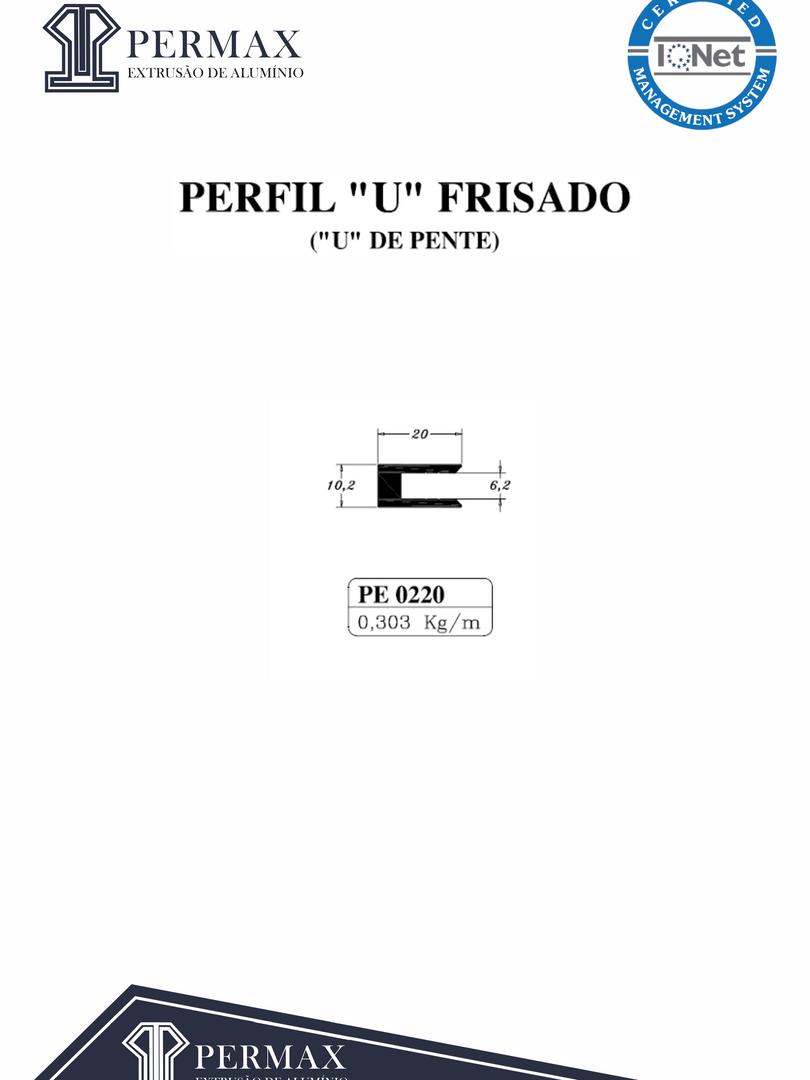 perfil U frisado u de frente PE 0220