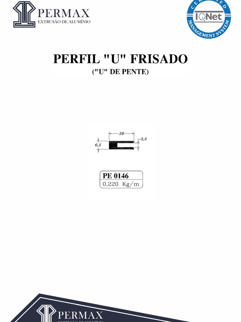 perfil U frisado u de frente PE 0146