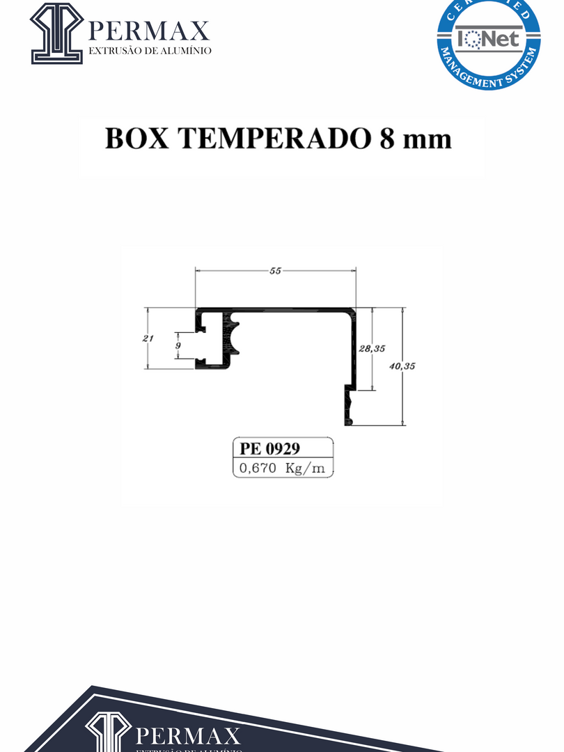 box temperado 8mm PE 0929