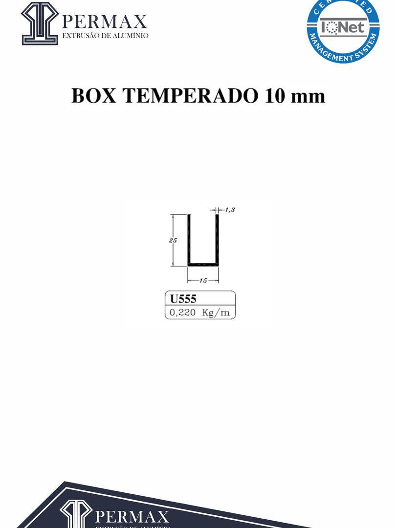 box temperado 10mm U 555
