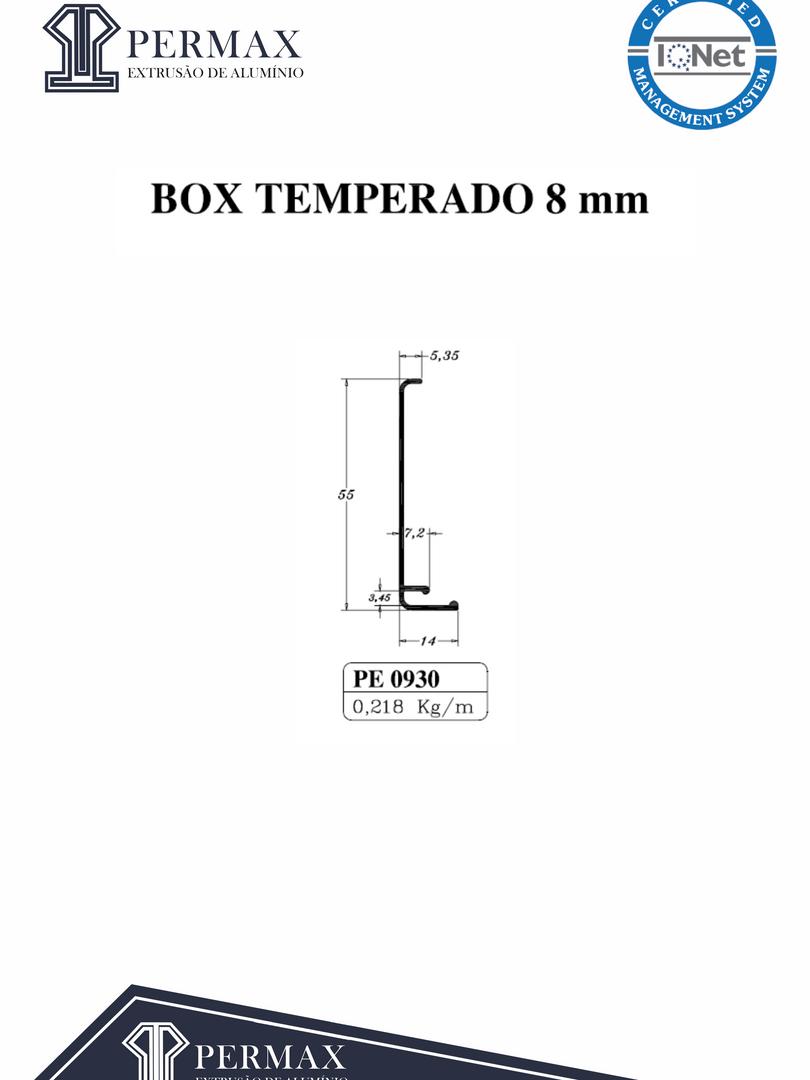 box temperado 8mm PE 0930