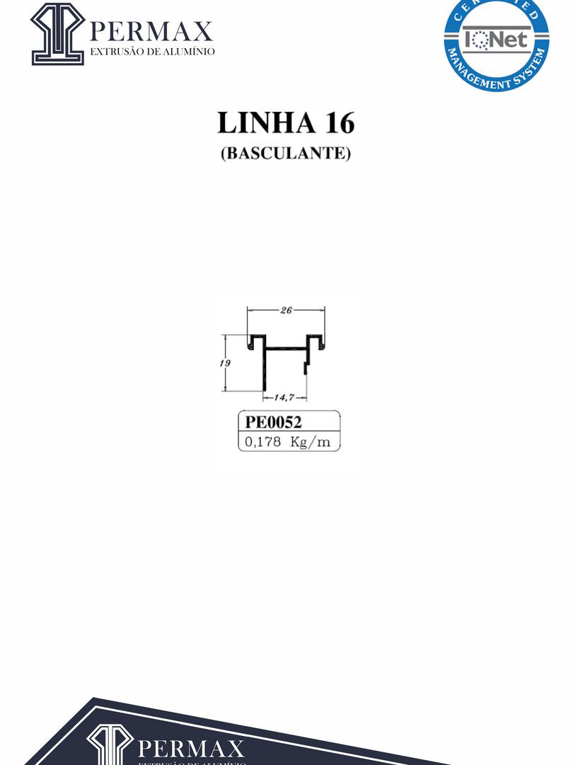 linha 16 basculante PE 0052
