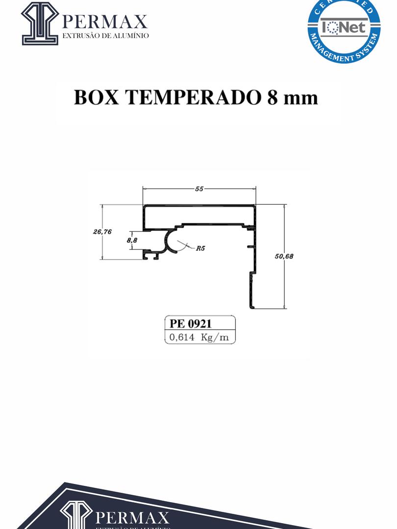 box temperado 8mm PE 0921