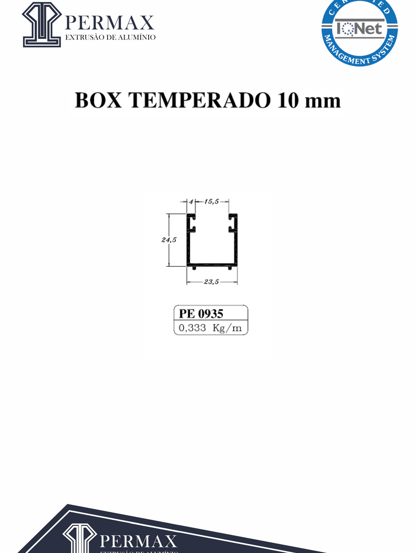 box temperado 10mm PE 0935