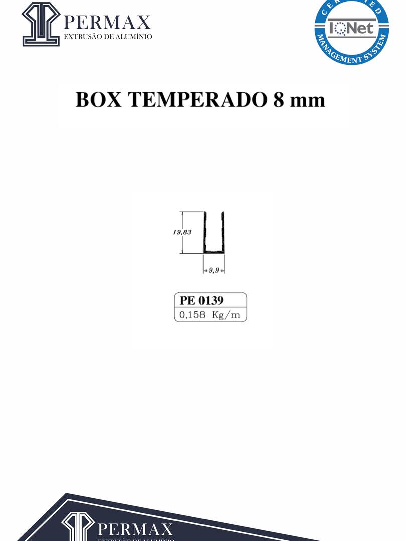 box temperado 8mm PE 0139