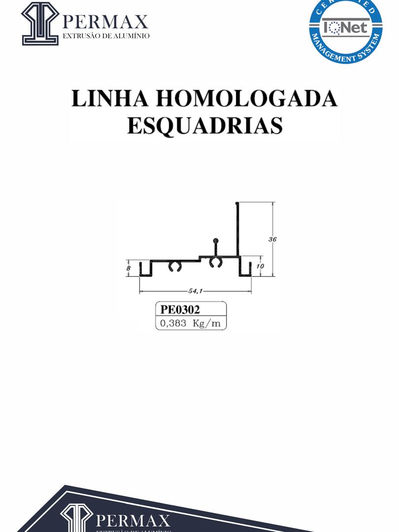 linha homologada esquadrias PE 0302