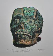 Cráneo con mascara de Turquesa en cuatricromia CMYK