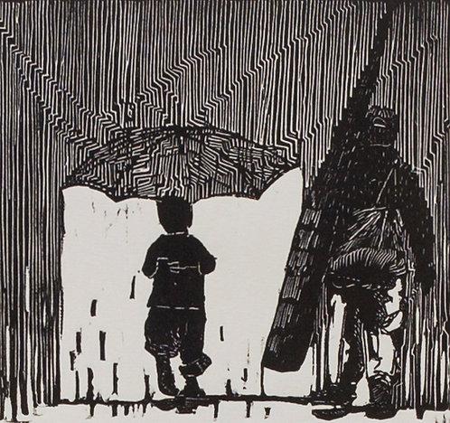 Camino a casa, bajo la lluvia