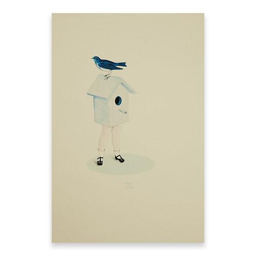 Pájaro-casa-niña