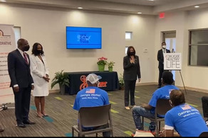Vice President Kamala Harris visit's a Choose Healthy Life Vaccination site In Atlanta