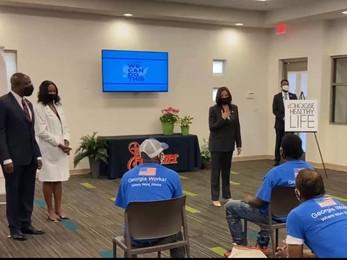 Vice President Kamala Harris visits a Choose Healthy Life Vaccination site In Atlanta