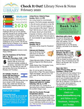 February 2020 Library Newsletter