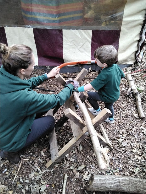 Sawing at the World Outside Kindergarten and outdoor nursery in Kidderminster