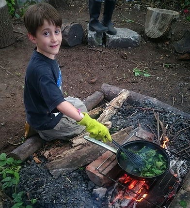 Nettle Crisps on the fire at Bodenham Arboretum with The World Outside