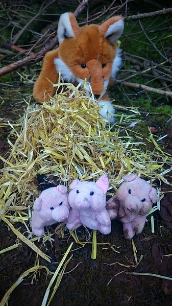 Three little pigs at the nursery. The World Outside Outdoor Kindergarten Kidderminster Worcestershire