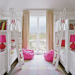White wood and pink bunk room