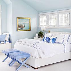Serene white and blue bedroom