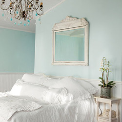 White Cottage Bedroom wtih Salvaged Mirror