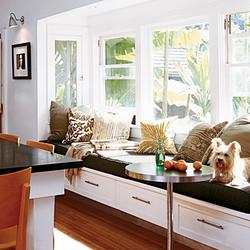 Built-in window seat in kitchen