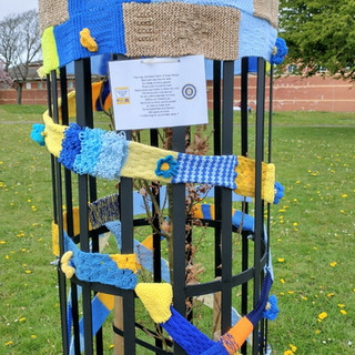 Inner wheel yarn bomb tree cage