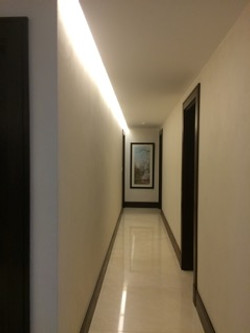 Corridor with concealed LED lighting
