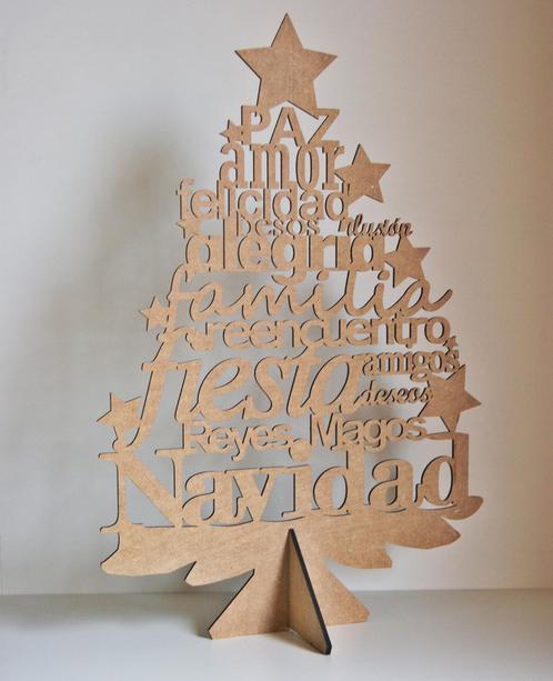 Rbol de navidad de madera con letras ene atelier productos y detalles personalizados y - Arboles de navidad de madera ...