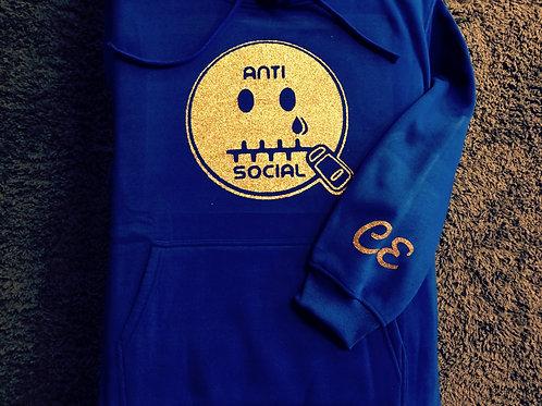 Anti 🤐 Social CE Royal Blue & Gold (Glit)