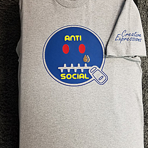 Anti 🤐 Social CE 🤖 Grey T-shirt Blue Yellow and Red
