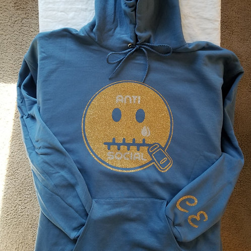 Anti 🤐 Social CE Hoodie Denim Blue (Gold Bling)