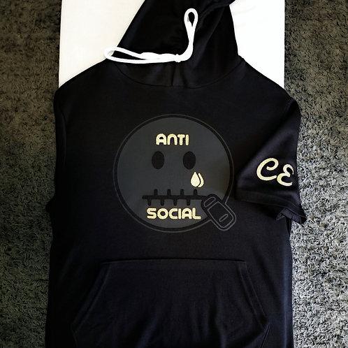 Anti 🤐 Social Short Sleeve Hoodie Black on Black  & Gold Glitrer