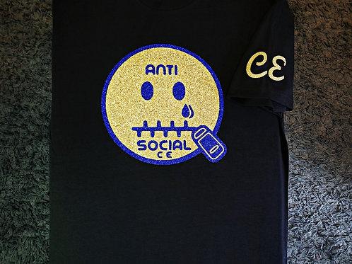 Anti 🤐 Social CE I.V Black, Gold Glit, and Blue Glit